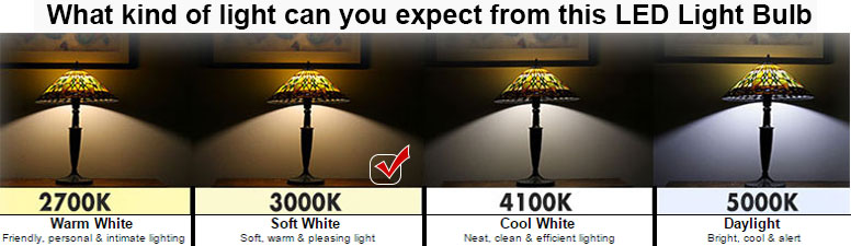 Great Base: E26 Medium Screw Color Temperature: 3000K, 82 CRI Beam Degree:  Expected Life Hours: 25000 Hours And 3 Year Warranty. Case QTY: 12 Photo