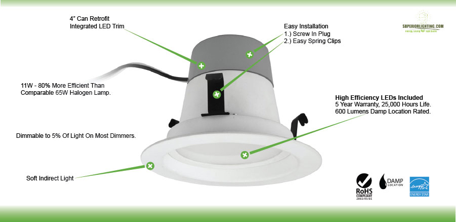 Led 10 Watt Dimmable Retrofit Light For 4 Inch Recessed Downlight Choose Your Color Temperature
