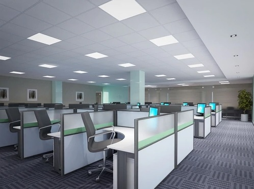 open space office with led flat panel lighting fixtures