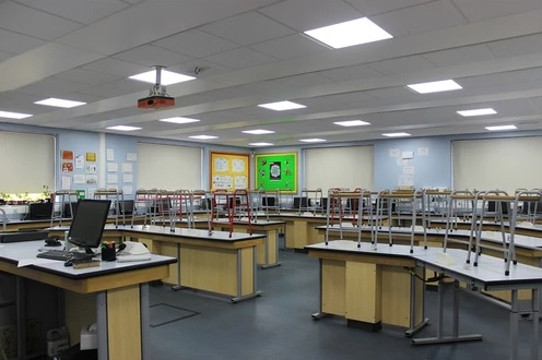 LED flat panel lighting in classroom